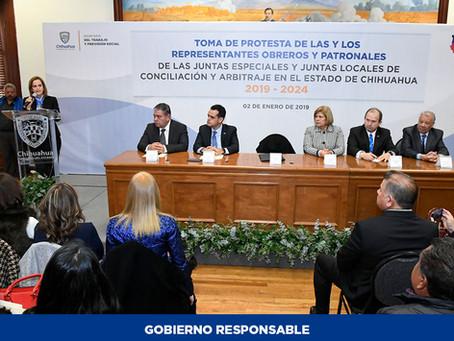 Toman protesta a nuevos funcionarios para cargos de Justicia Laboral en Chihuahua
