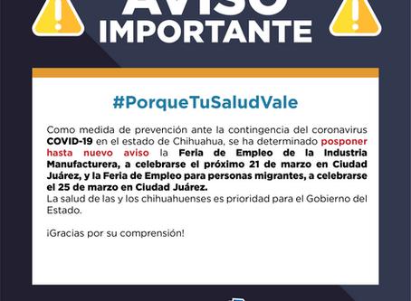 Pospone Secretaría del Trabajo eventos masivos en Juárez en prevención del COVID-19