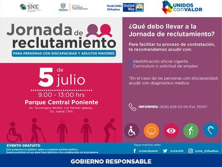 Todo listo para Jornada de reclutamiento para personas con discapacidad y adultos mayores en Juárez