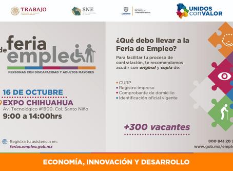 Invitan a Feria de Empleo para Personas con Discapacidad y Adultos Mayores