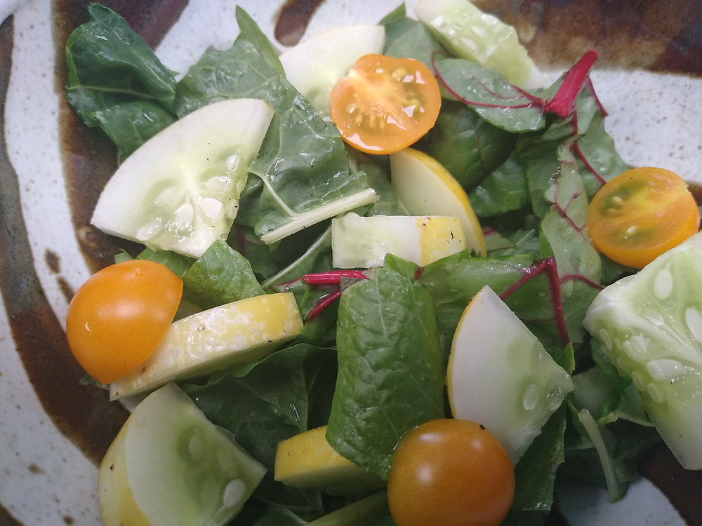This photo is of a salad that contains red stemmed strips of swiss chard, lemon cucumber with a light yellow rind, and bright orange halved cherry tomatoes.