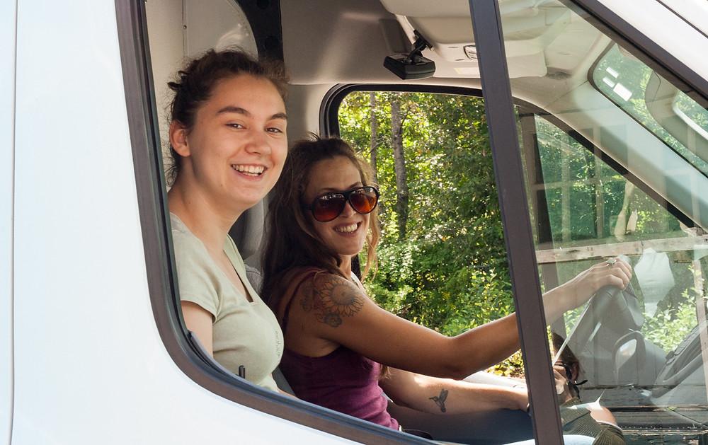 Bree and Merrilee in the Good Shepherd van before departure