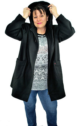 Duffle Coat 3/4 capuche noir