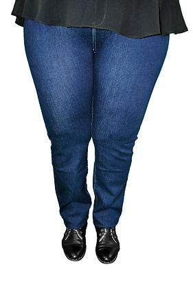Pantalon jean bleu brut.