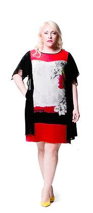 Robe voile noire et rouge