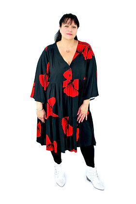 Robe fleurs rouge / noire