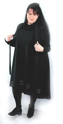 Robe longue noire œillets