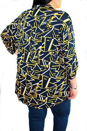 Tunique bleue marine et jaune
