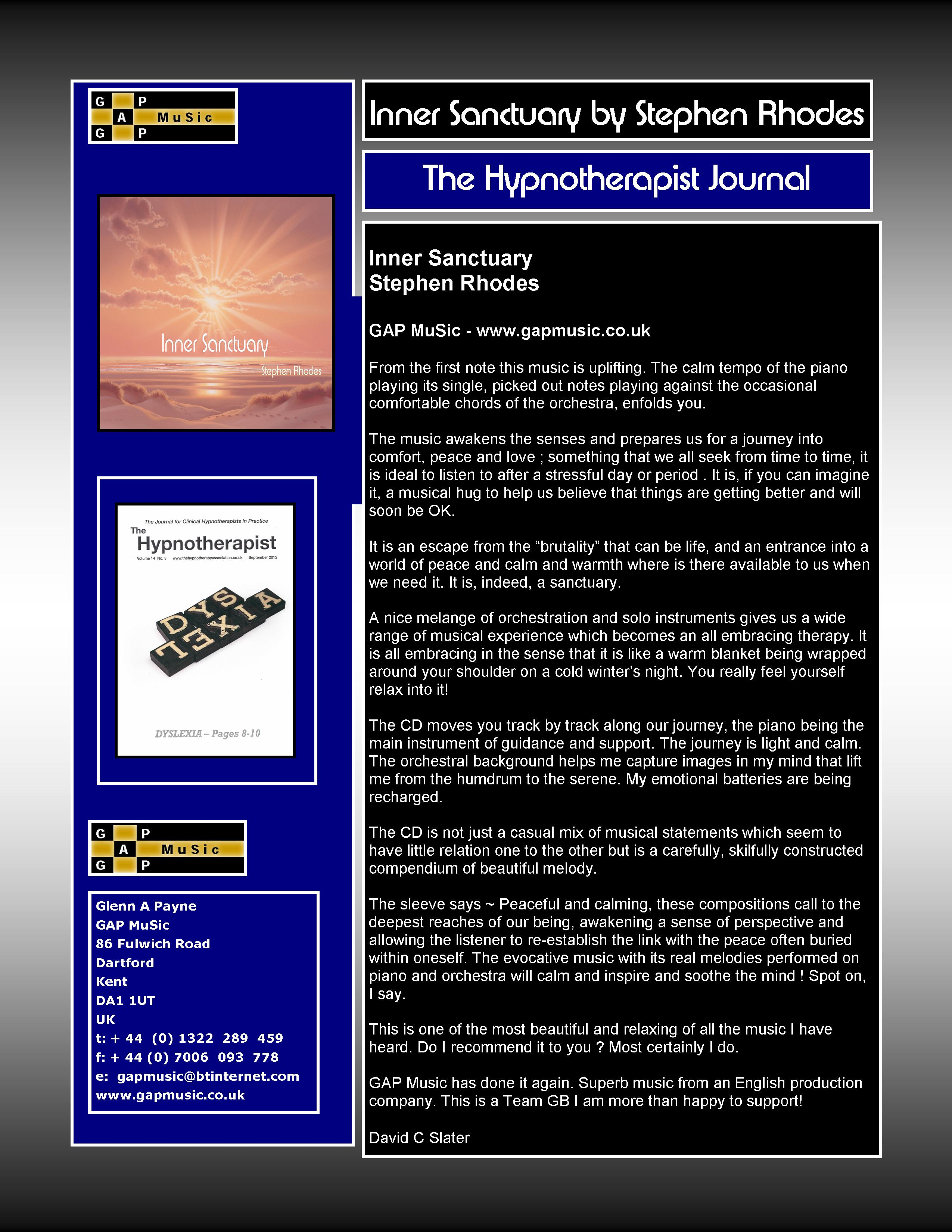 Inner Sanctuary - The Hypnotherapist Journal
