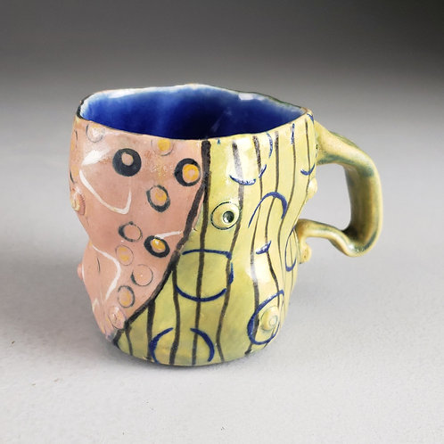 Sara Catapano - Pink/yellow mug with handle (SMC- 22)