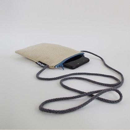 Funda de móvil (paja-crem. azul)