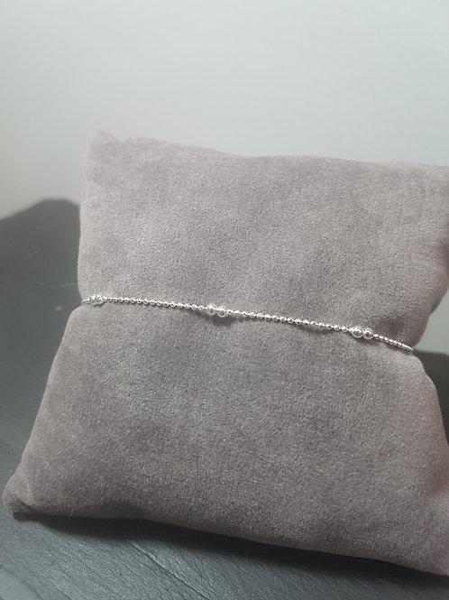 Bracelet réglable en argent chaîne boule
