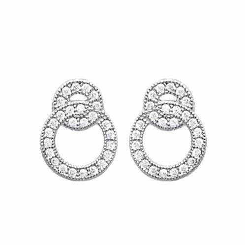 Boucles d'oreilles avec deux cercles zircinium