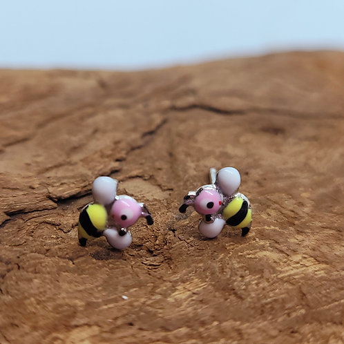Boucles d'oreilles en argent motif abeilles
