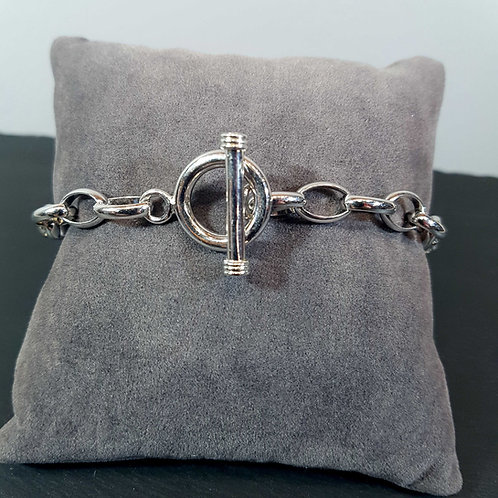Bracelet en argent, fermoir en T
