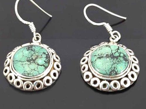 Boucles d'oreilles argent et Turquoise du Tibet