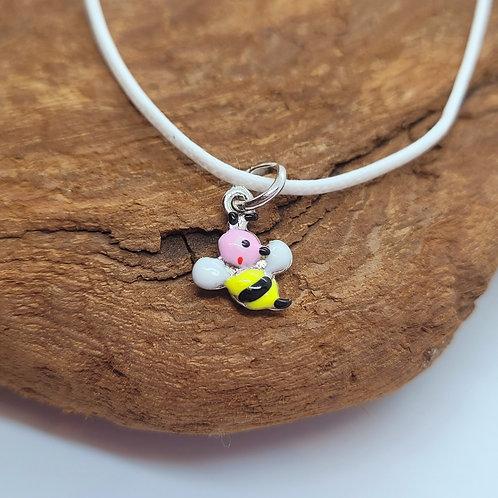 Collier argent motif abeille