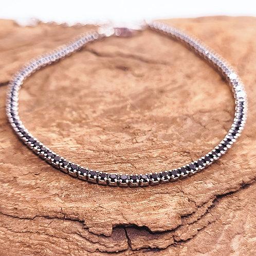 Bracelet réglable argent et zirconium teintés
