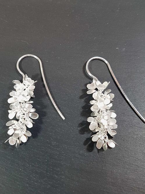 Boucles d'oreilles en argent motif fleurs