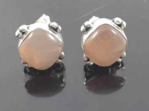 Boucles d'oreilles argent et Pierre de Lune rose