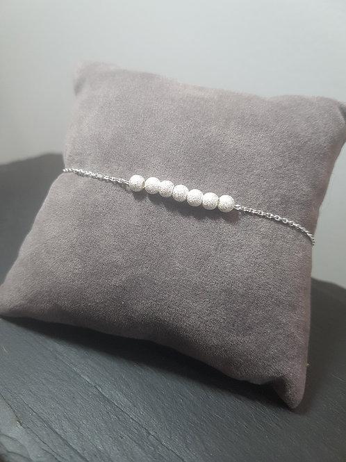 bracelet réglable en argent boules diamantées