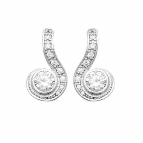 Boucles d'oreilles argent et zirconium