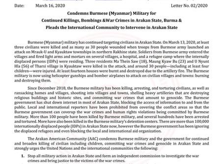 Condemns Burmese (Myanmar) Military for Continued Killings, Bombings &War Crimes in Arakan State