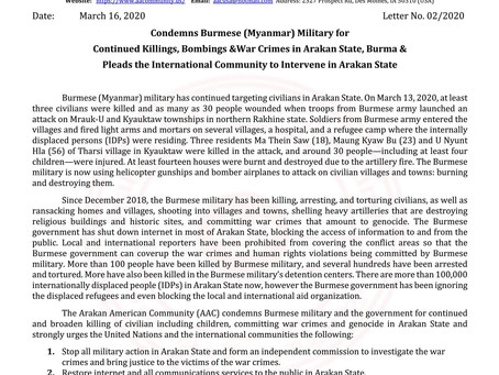 Condemns Burmese (Myanmar) Military for Continued Killings, Bombings &War Crimes in Arakan State