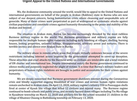 Urgent Appeal to the United Nations and International Governments