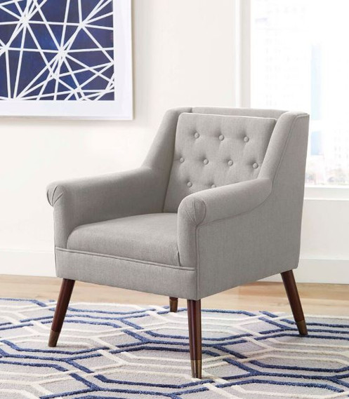 The Upholstered Light Grey Accent Chair Offers A Mid Century Modern Vibe In  A Comfortable, Stylish Accent Chair. Light Grey Upholstery Is Neatly Fitted  And ...