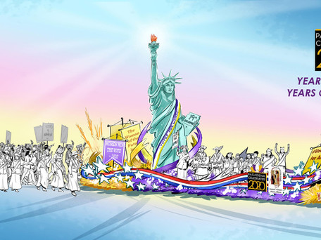 Suffrage Centennial Honored in Rose Parade Float