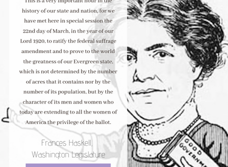 Today Marks 100 Years Since Washington State Ratified the 19th Amendment!