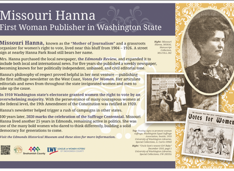Grantee Announces Ribbon Cutting Event to Commemorate Local Suffragist in Edmonds, WA