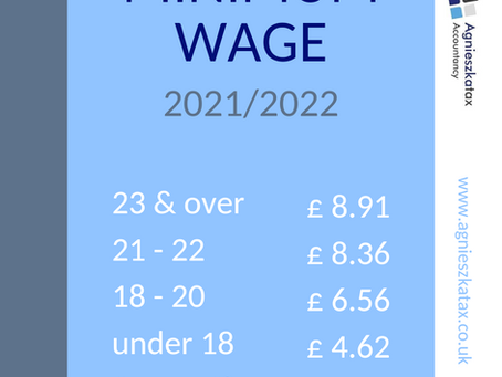 Nowe stawki minimalne na Rok Podatkowy 2021/22