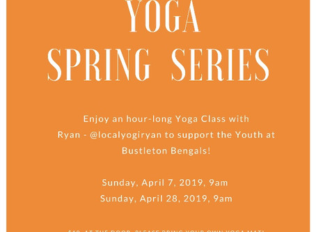 YOGA!!  Join us on April 7th & 28th
