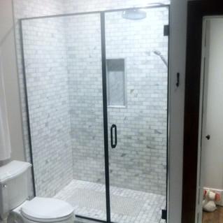 custom glass shower black frame