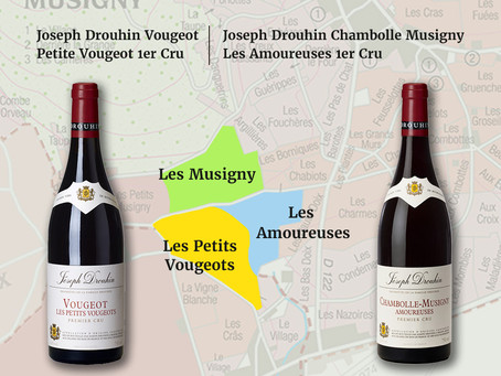 Adjacent Musigny & Amoureuses, Joseph Drouhin Vougeot Petits Vougeots 2015 & 2018 From HK$700/Bt