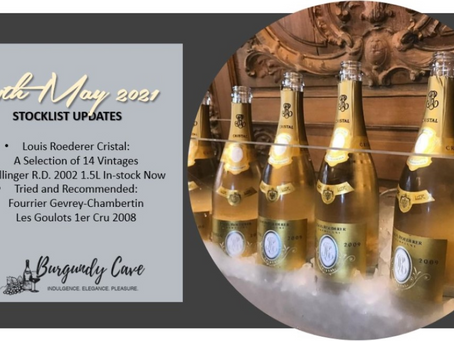 Our Latest Stocklist with New Additions: 14 Vintages of Cristal from 1977, Bollinger R.D. 2002 Mag..