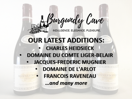 Our Latest Purchases: Charles Heidsieck, Comte Liger-Belair, JF Mugnier, L'Arlot, Raveneau and More!
