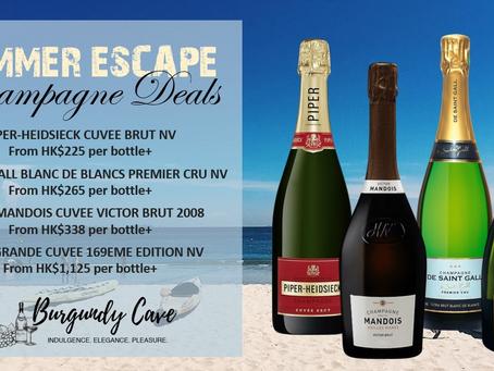 Summer Escape Deals! Champagne Selections from HK$225/Bt Incl. Piper-Heidsieck, De Saint Gall, Henri