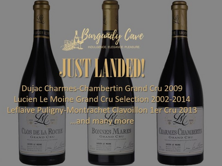 Just Landed! Dujac Charmes Chambertin 2009, Bollinger R.D. 1985, Back-Vintages Lucien Le Moine