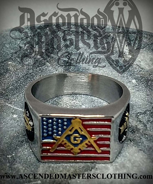 SILVER AMERICAN FLAG MASONIC RING 0013