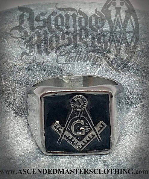BLACK ENAMEL MASONIC RING 0003