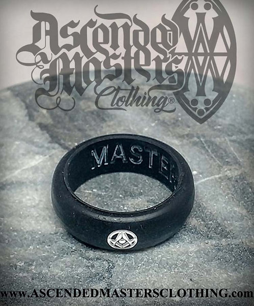 BLACK SILICONE MASONIC RING 0030