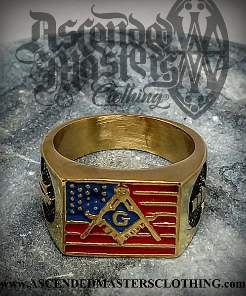 GOLD AMERICAN FLAG MASONIC RING 0012