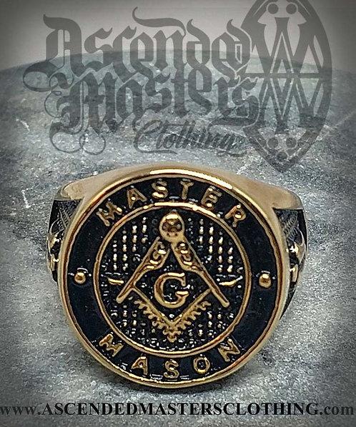 GOLD ENAMEL MASONIC RING 0004