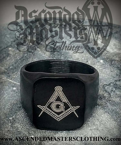 BLACK MASONIC RING 0018