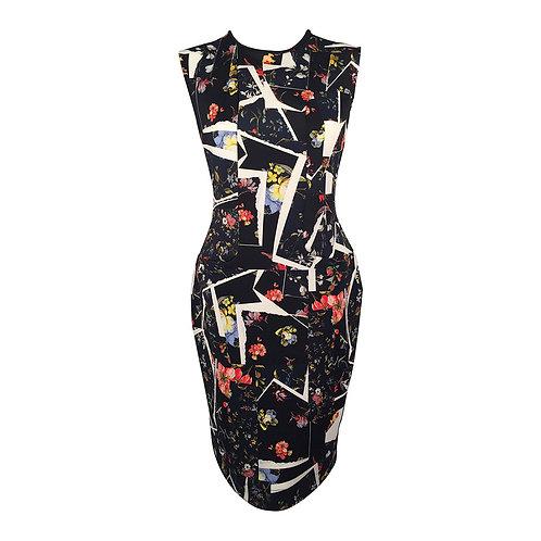 Erdem Black Multicolor Print Sleeveless Sheath Dress