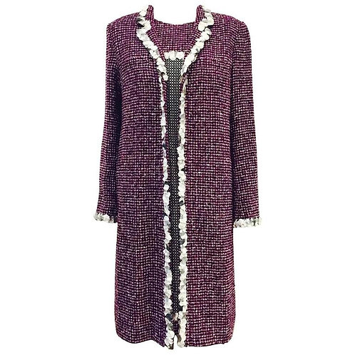 Chanel Purple Tweed Sleeveless Dress and Matching Coat With 3-D Trim Size 46