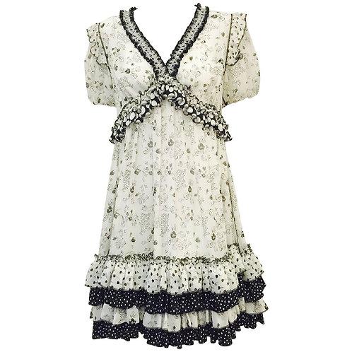 Dolce & Gabbana Black and White Floral and Polka Dot Print Dress